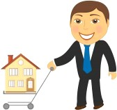 happy-cartoon-man-with-shopping-cart-and-house